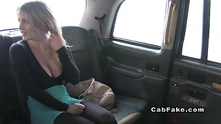 Huge tits British blonde anal banged in fake taxi reality european