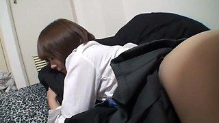 Japanese schoolgirl keeps the ribbon on