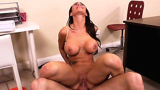 Busty office babe Sandee Westgate ride dick in the office