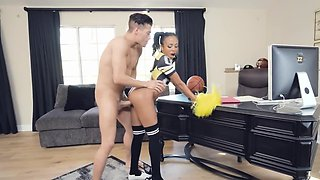 Ebony princess looks lovely while fully engaged and in her black socks