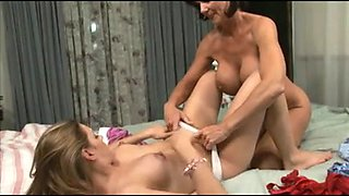 Nasty cougar has lesbian sex with a naughty gal