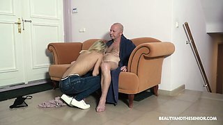 Too naughty light haired Hungarian girl Missy Luv rides strong cock of old man