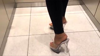 High heel stripper mules back from the gym