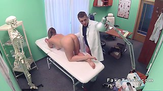 Cute blonde being fucked and getting her asshole licked by the doctor