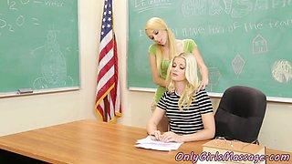 Cute schoolgirl scissoring lesbian teacher