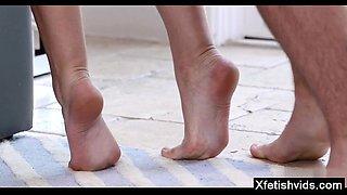 Hot sister foot fetish and cumshot