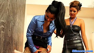 Classy lesbian babes covered fully with jizz