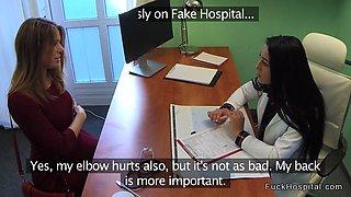 Nurse and doctor fucks injured babe