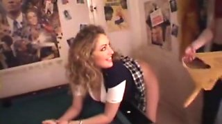 Lesbian schoolgirl anal fucked on table with strapon