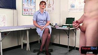 British cfnm voyeur showing off legs while watching guy jerk off