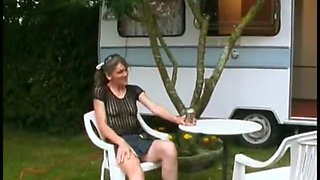 Youg french visti an old prostitute in her camping car