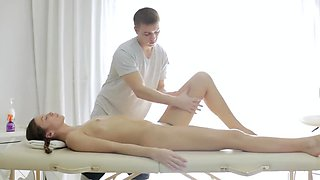 Gentle massage and rubbing lead to some sensual oral sex