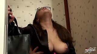 brunette secretary sucks an anonymous cock in the office toilet