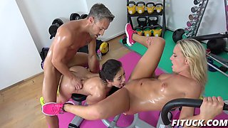 Valentina Bianco,Victoria Pure In Gym lesbian's crazy big cock fuck