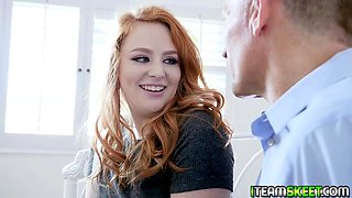 Step dad matured cock suck by a fierce redhead