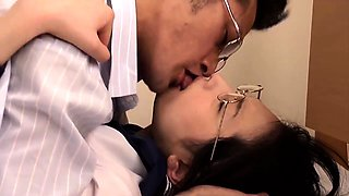 Busty Japanese schoolgirl has an older guy banging her pussy