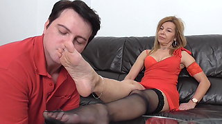 mature nylon lady train her foot slave bobby