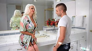 Chubby blonde Stepmommy is Quite Buxom