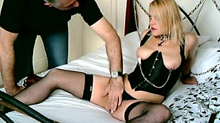 British Golden-Haired Sub Floozy Handcuffed Up and Used