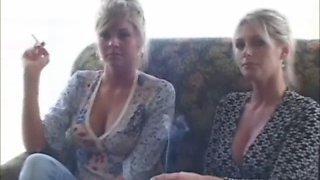 2 hot blonde smoking