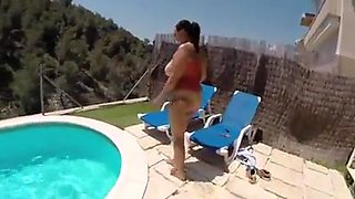 Huge tits ass pawg fucked at pool