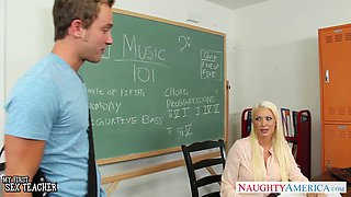 Busty blonde teacher in stockings Summer Brielle gets facialized
