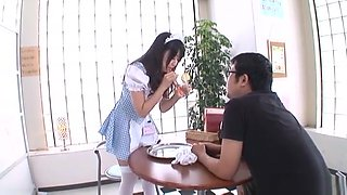 Arisa Misato hot Asian maid sucks cock in cosplay sex
