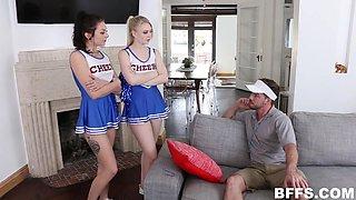 horny cheerleaders trio