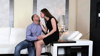 Young Rita strips off her little black dress for anal sex