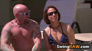 naughty swingers chilling by the pool
