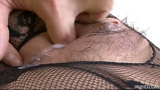 Hatsuka Kobayashi in a sexy fishnet body suit toyed and