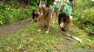 Lesbian Domination Outdoors With Naked Bitches