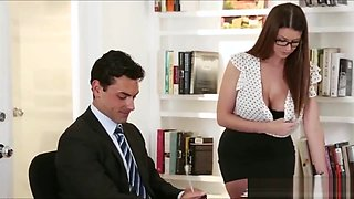 Sexy Secretary Brooklyn Chase fucked hard with a big cock of his boss Slea