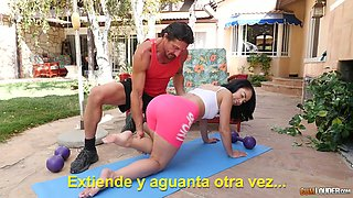 Yoga instructor fucks yummy pussy of sex-appeal fitness chick Kristina Rose