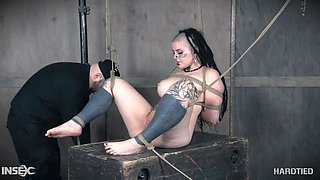 alternative chick is bound with rope and fingered