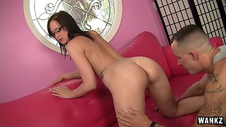 Hot piece of ass keeps her glasses on as he balls her hard