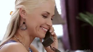 Hot blonde slut cheats while on phone with husband