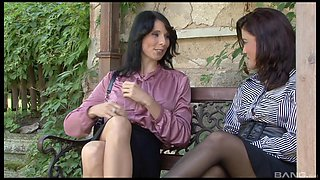 Stunning Cindy Gold and her friend get their cunts fucked outdoors