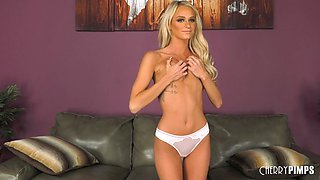 Blonde slut with a beautiful skinny body gets fucked