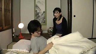 Horny Japanese mom seducing son and fucking