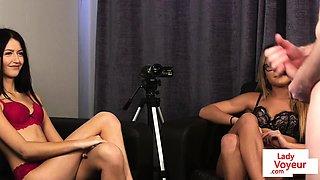 Teen voyeurs stripping while instructing sub