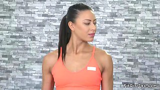 toned lesbian fingers pale brunette at the gym