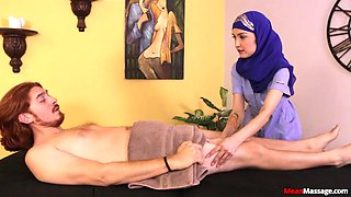 Sexy Arab girl Jericha Jem loves to flash her tits during dick massage