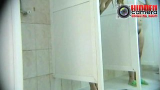 Hairy pussy babes in the shower on a spy xxx cam video