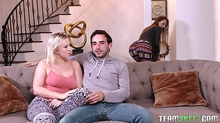 Best ever threesome with jealous girlfriend and super sexy stepmom