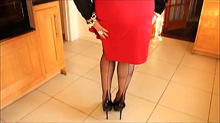 Black satin blouse with red split pencil skirt and black FFs