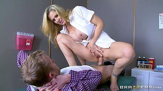 MILF nurse with big tits gets plowed by her biggest cock ever