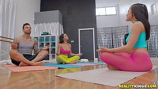 Natural Busty Yoga Sluts Share A Massive Cock