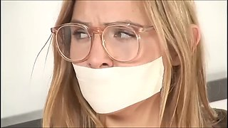 Microfoam gagged blonde with glasses