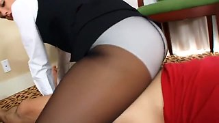 Air attendant footjob with black pantyhose